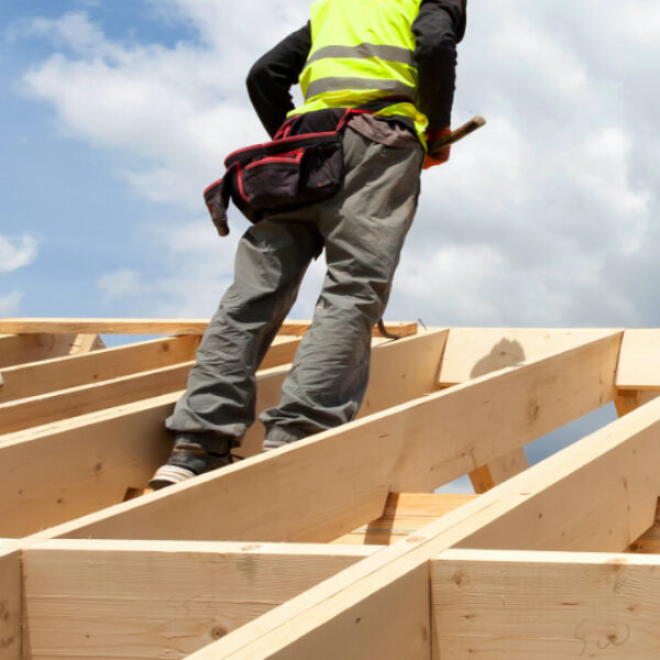 Image showing a builder on a roof